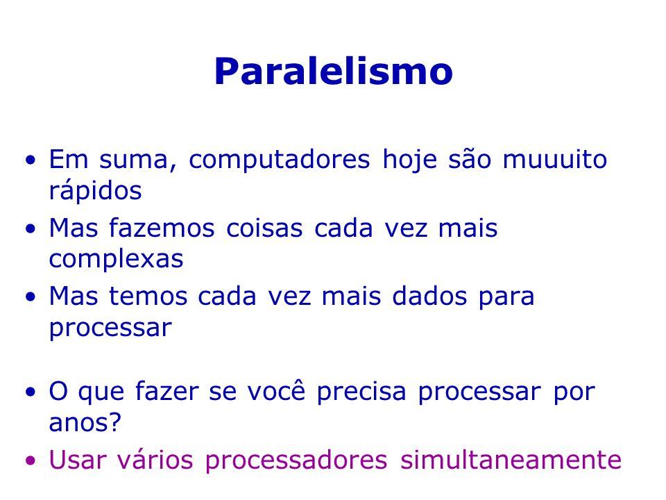 Lei de Amdalh speed-up = tempo seqüencial / tempo paralelo tempo seqüencial = intrinsecamente-seqüencial + paralelizável melhor tempo paralelo = intrinsecamente-seqüencial melhor speed-up = 1 + paralelizável/intrinsecamente-seqüencial