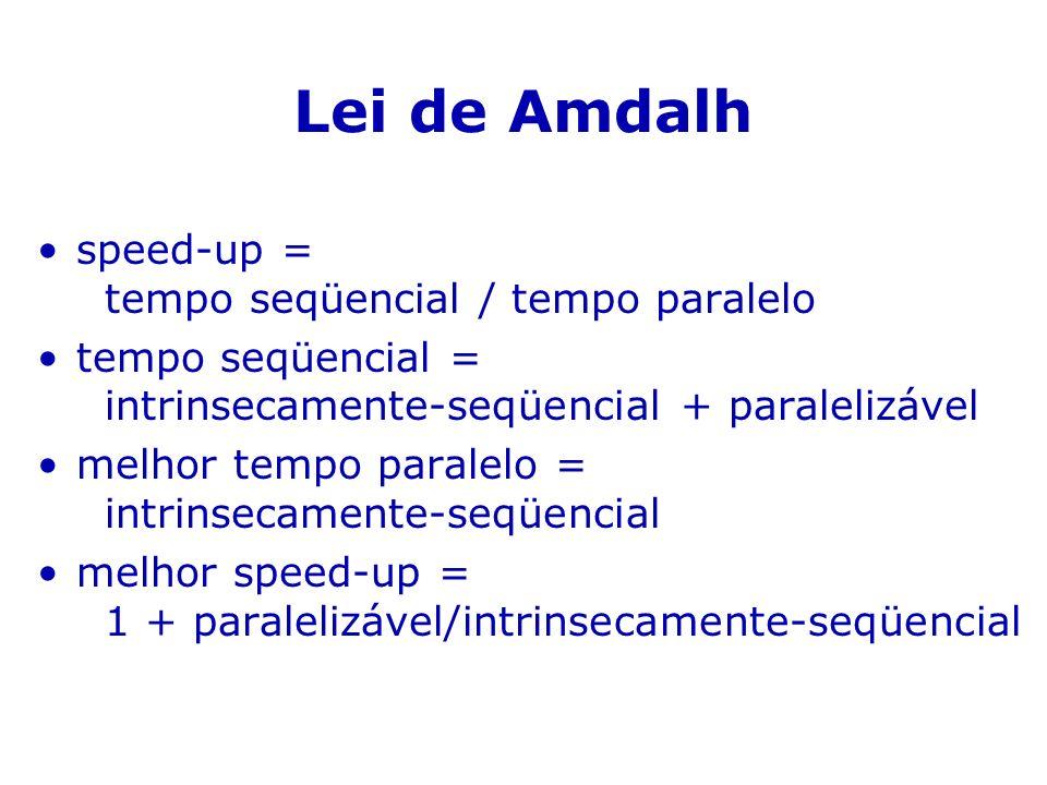 Lei de Amdalh speed-up = tempo seqüencial / tempo paralelo tempo seqüencial = intrinsecamente-seqüencial + paralelizável melhor tempo paralelo = intri