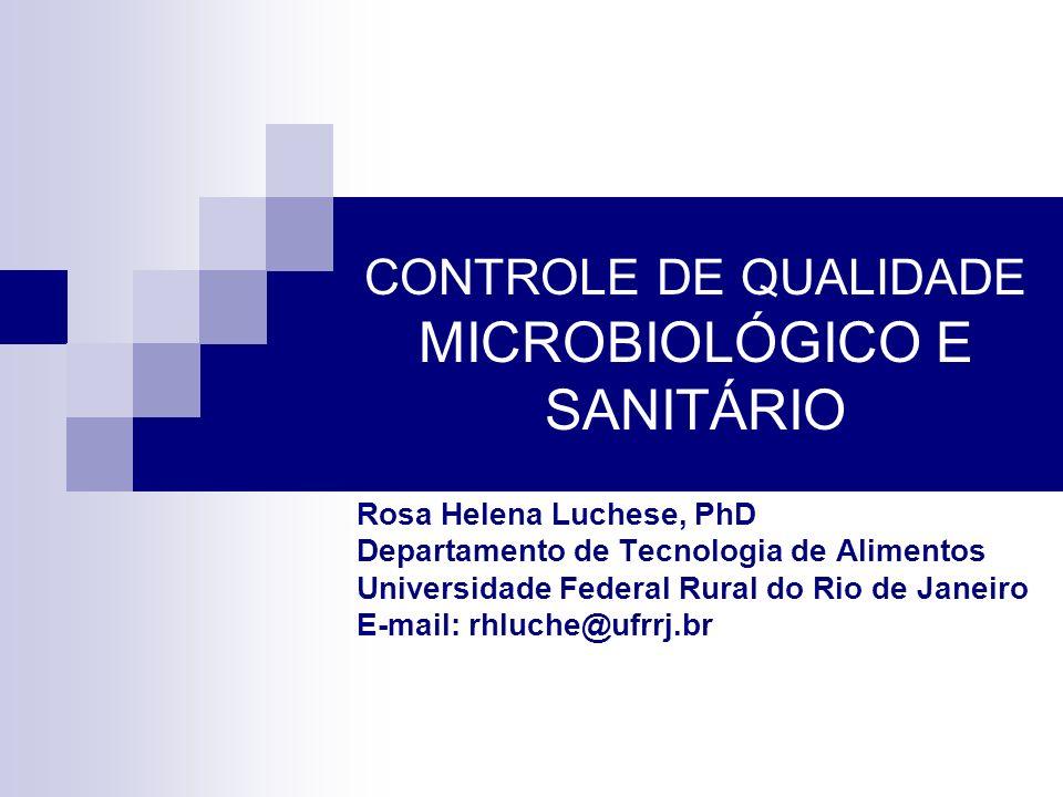 CONTROLE DE QUALIDADE MICROBIOLÓGICO E SANITÁRIO Rosa Helena Luchese, PhD Departamento de Tecnologia de Alimentos Universidade Federal Rural do Rio de