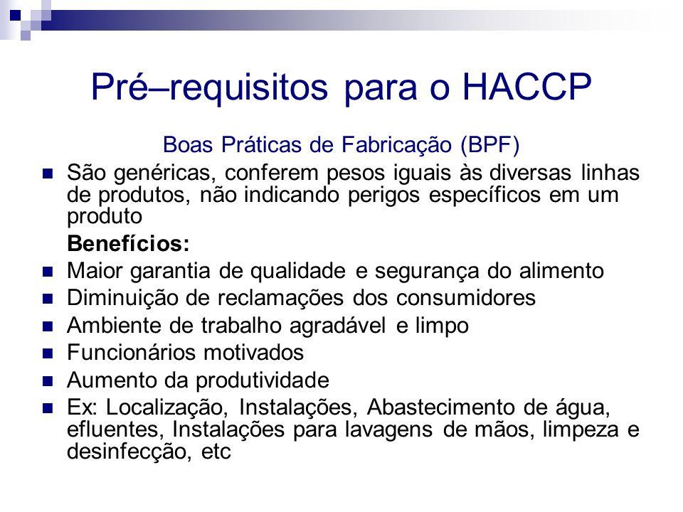 Pré–requisitos para o HACCP Procedimentos Padrão de Higiene Operacional (PPHOs) Procedimentos fundamentais a serem adotados para obtenção de alimento seguro e de acordo com as especificações regulamentares São a base para um plano de HACCP efetivo Formaliza aplicação de BPF – é específico para cada planta Abragem 8 áreas Inocuidade da água Manutenção e limpeza das superfícies de contato com os alimentos Prevenir contaminação cruzada Lavagem de mãos e desinfecção de toaletes Proteção contra contaminação Rotulagem e armazenamento adequado de produtos tóxicos Estado de saúde dos empregados Programa de controle de pragas