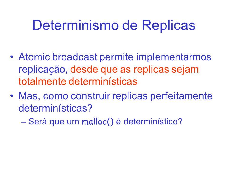 Determinismo de Replicas Atomic broadcast permite implementarmos replicação, desde que as replicas sejam totalmente determinísticas Mas, como construi