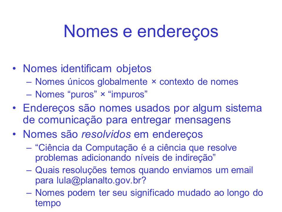 Nomes e endereços Nomes identificam objetos –Nomes únicos globalmente × contexto de nomes –Nomes puros × impuros Endereços são nomes usados por algum