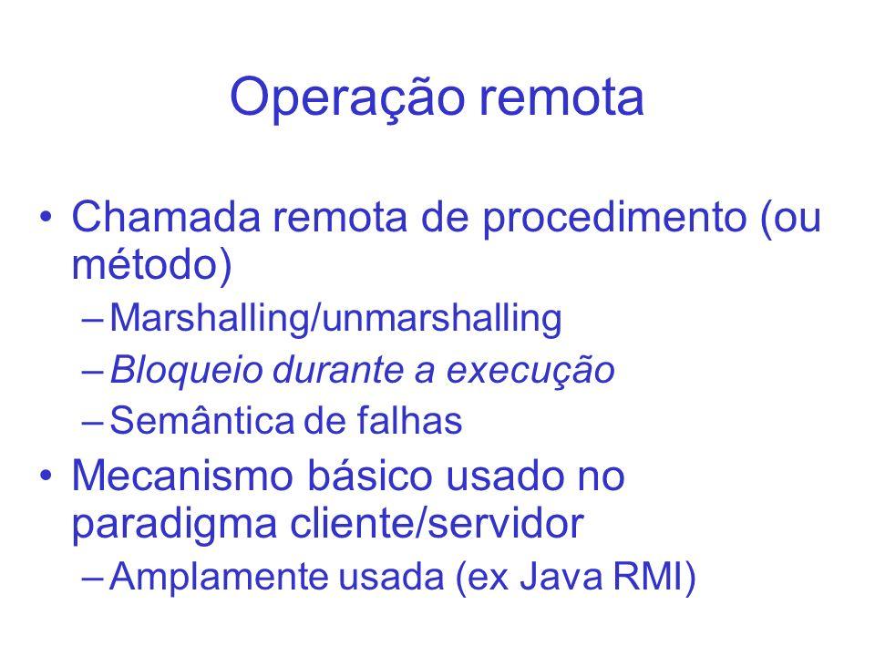 Operação remota Chamada remota de procedimento (ou método) –Marshalling/unmarshalling –Bloqueio durante a execução –Semântica de falhas Mecanismo bási