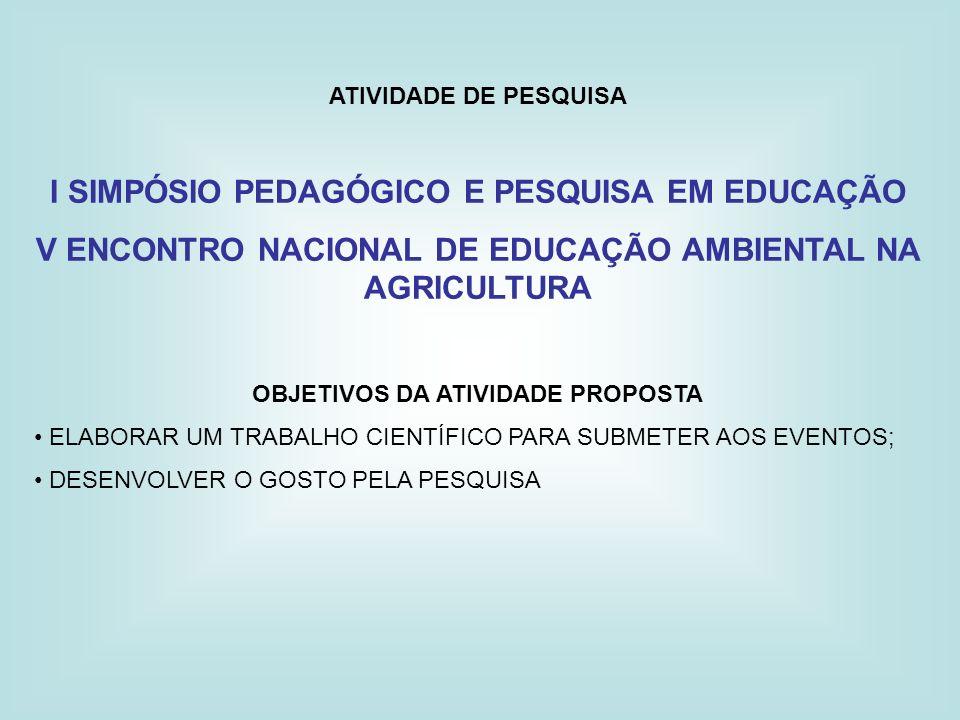ATIVIDADE DE PESQUISA I SIMPÓSIO PEDAGÓGICO E PESQUISA EM EDUCAÇÃO V ENCONTRO NACIONAL DE EDUCAÇÃO AMBIENTAL NA AGRICULTURA OBJETIVOS DA ATIVIDADE PRO
