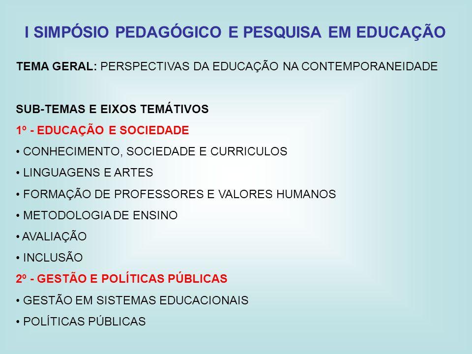 I SIMPÓSIO PEDAGÓGICO E PESQUISA EM EDUCAÇÃO TEMA GERAL: PERSPECTIVAS DA EDUCAÇÃO NA CONTEMPORANEIDADE SUB-TEMAS E EIXOS TEMÁTIVOS 1º - EDUCAÇÃO E SOC