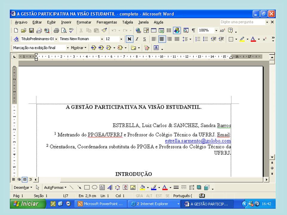 V ENCONTRO NACIONAL DE EDUCAÇÃO AMBIENTAL NA AGRICULTURA MODALIDADES 1 - PÔSTERES: 2 - RESUMO: 3 - PALESTRA: DIGITAÇÃO E FORMATAÇÃO DOS TRABALHOS - RESUMO: Programa Word for Windows; Fonte Arial, tamanho 10; Papel tamanho carta; Margens superior com 2,5 cm, esquerda com 3 cm; inferior com 12,5 cm e direita com 2,0 cm; Espaçamento entre linhas simples e alinhamento justificado; Título em maiúsculo/negrito com alinhamento centralizado e nome(s) do(s) autor(es) e instituição(ões) com alinhamento à direita.