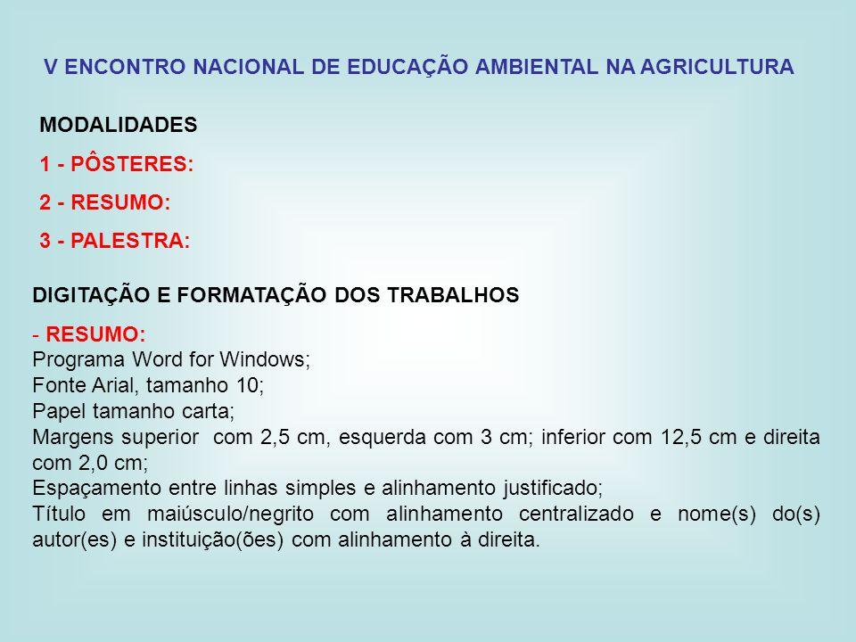 V ENCONTRO NACIONAL DE EDUCAÇÃO AMBIENTAL NA AGRICULTURA MODALIDADES 1 - PÔSTERES: 2 - RESUMO: 3 - PALESTRA: DIGITAÇÃO E FORMATAÇÃO DOS TRABALHOS - RE