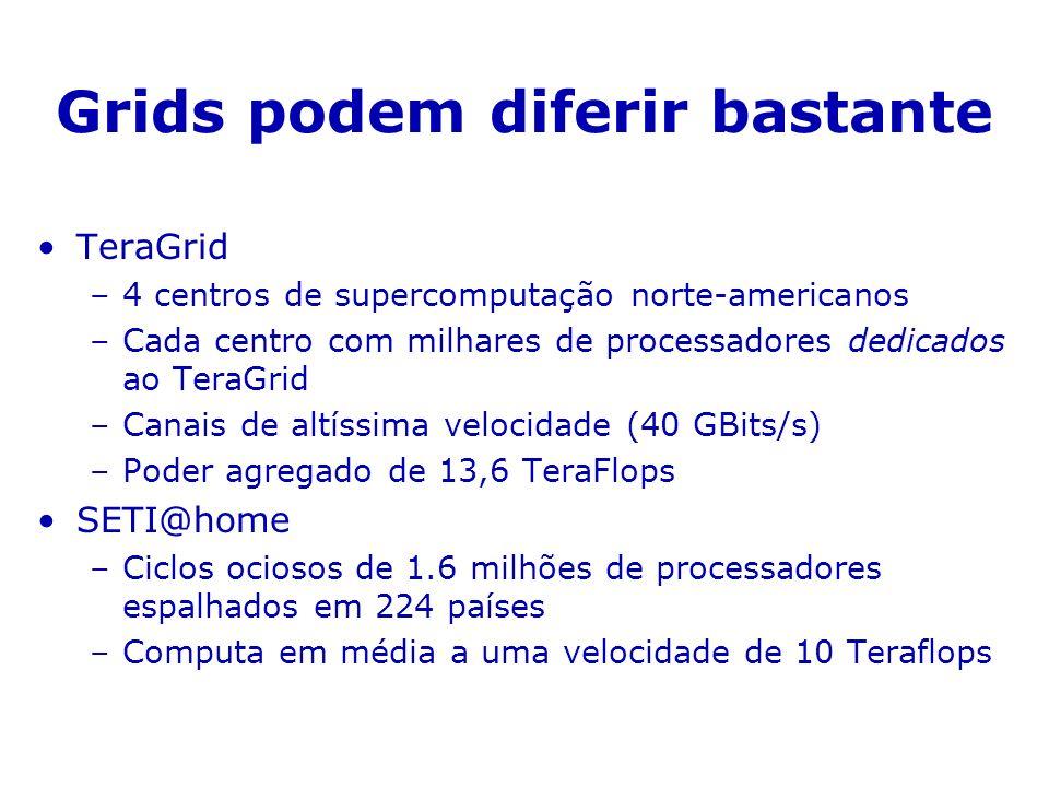 Grids podem diferir bastante TeraGrid –4 centros de supercomputação norte-americanos –Cada centro com milhares de processadores dedicados ao TeraGrid –Canais de altíssima velocidade (40 GBits/s) –Poder agregado de 13,6 TeraFlops SETI@home –Ciclos ociosos de 1.6 milhões de processadores espalhados em 224 países –Computa em média a uma velocidade de 10 Teraflops