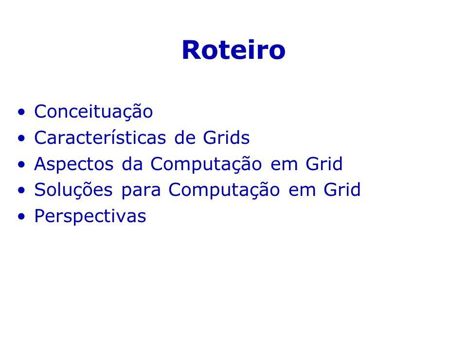 Principais Serviços Globus GSIAutenticação única no Grid GRAMSubmissão e controle de tarefas MDSInformações e diretórios NexusComunicação entre tarefas MPI-GMPI sobre Nexus GASSTransferência de arquivos GridFTPTransferência de arquivos