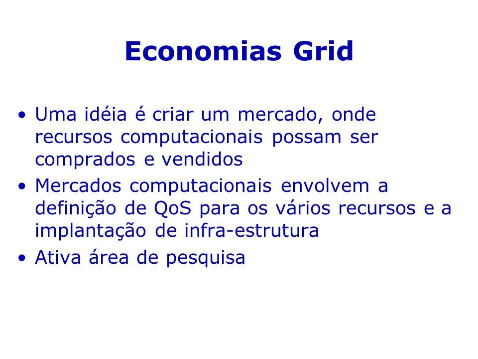 Economias Grid Uma idéia é criar um mercado, onde recursos computacionais possam ser comprados e vendidos Mercados computacionais envolvem a definição de QoS para os vários recursos e a implantação de infra-estrutura Ativa área de pesquisa