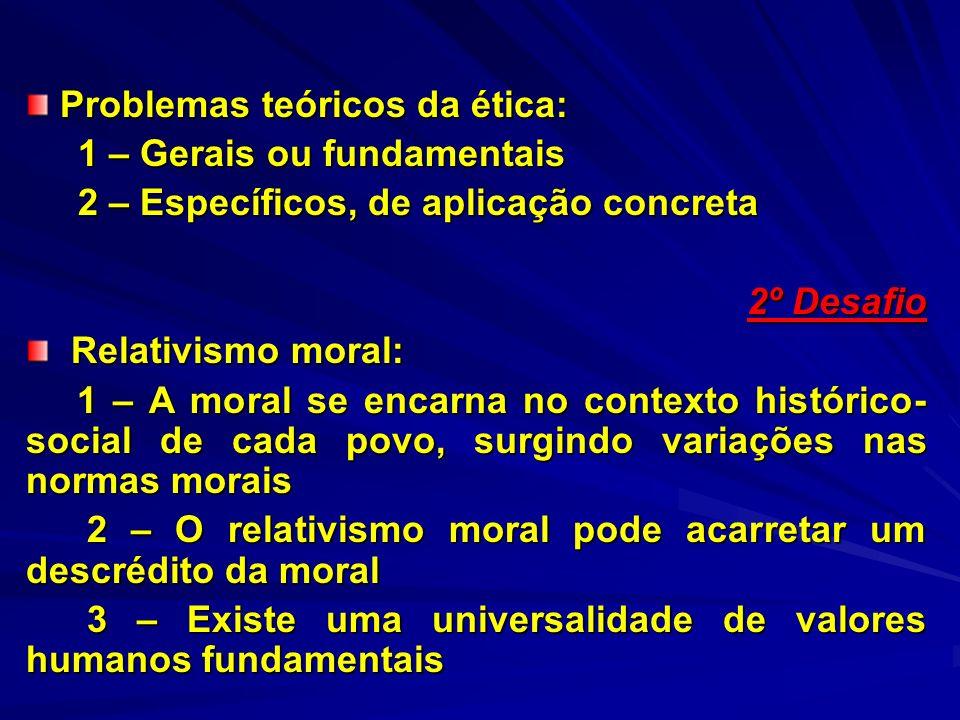 Problemas teóricos da ética: Problemas teóricos da ética: 1 – Gerais ou fundamentais 1 – Gerais ou fundamentais 2 – Específicos, de aplicação concreta