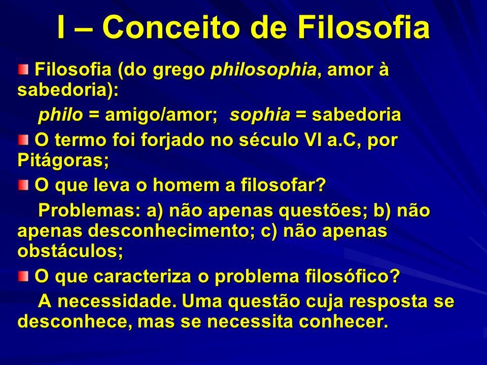 I – Conceito de Filosofia Filosofia (do grego philosophia, amor à sabedoria): Filosofia (do grego philosophia, amor à sabedoria): philo = amigo/amor;