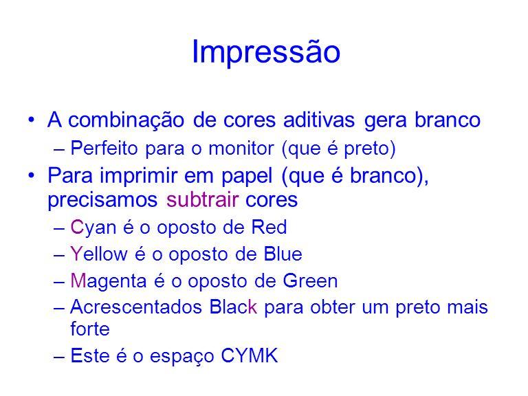 Impressão A combinação de cores aditivas gera branco –Perfeito para o monitor (que é preto) Para imprimir em papel (que é branco), precisamos subtrair cores –Cyan é o oposto de Red –Yellow é o oposto de Blue –Magenta é o oposto de Green –Acrescentados Black para obter um preto mais forte –Este é o espaço CYMK