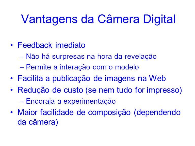 Vantagens da Câmera Digital Feedback imediato –Não há surpresas na hora da revelação –Permite a interação com o modelo Facilita a publicação de imagen