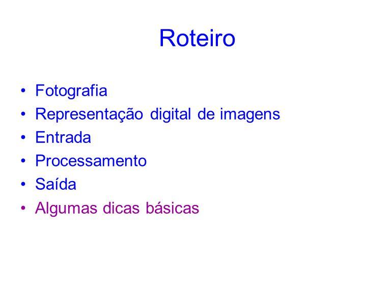 Roteiro Fotografia Representação digital de imagens Entrada Processamento Saída Algumas dicas básicas