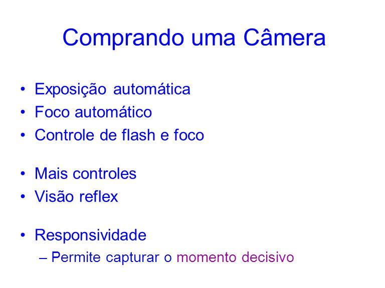 Comprando uma Câmera Exposição automática Foco automático Controle de flash e foco Mais controles Visão reflex Responsividade –Permite capturar o momento decisivo