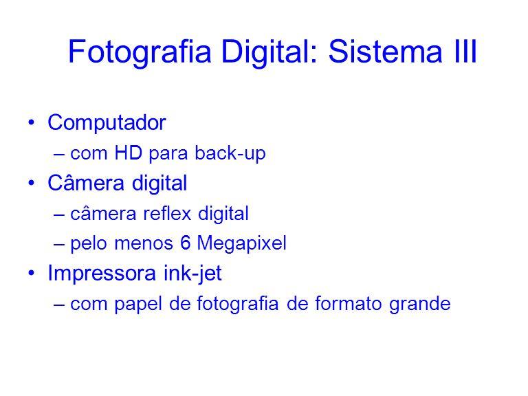 Fotografia Digital: Sistema III Computador –com HD para back-up Câmera digital –câmera reflex digital –pelo menos 6 Megapixel Impressora ink-jet –com papel de fotografia de formato grande