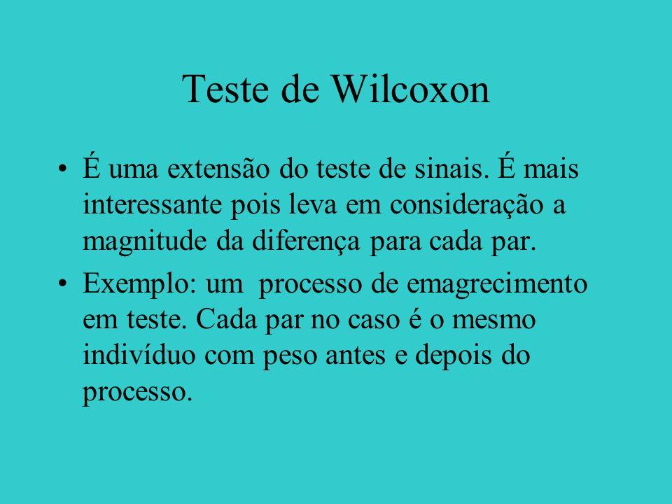 Teste de Wilcoxon É uma extensão do teste de sinais. É mais interessante pois leva em consideração a magnitude da diferença para cada par. Exemplo: um