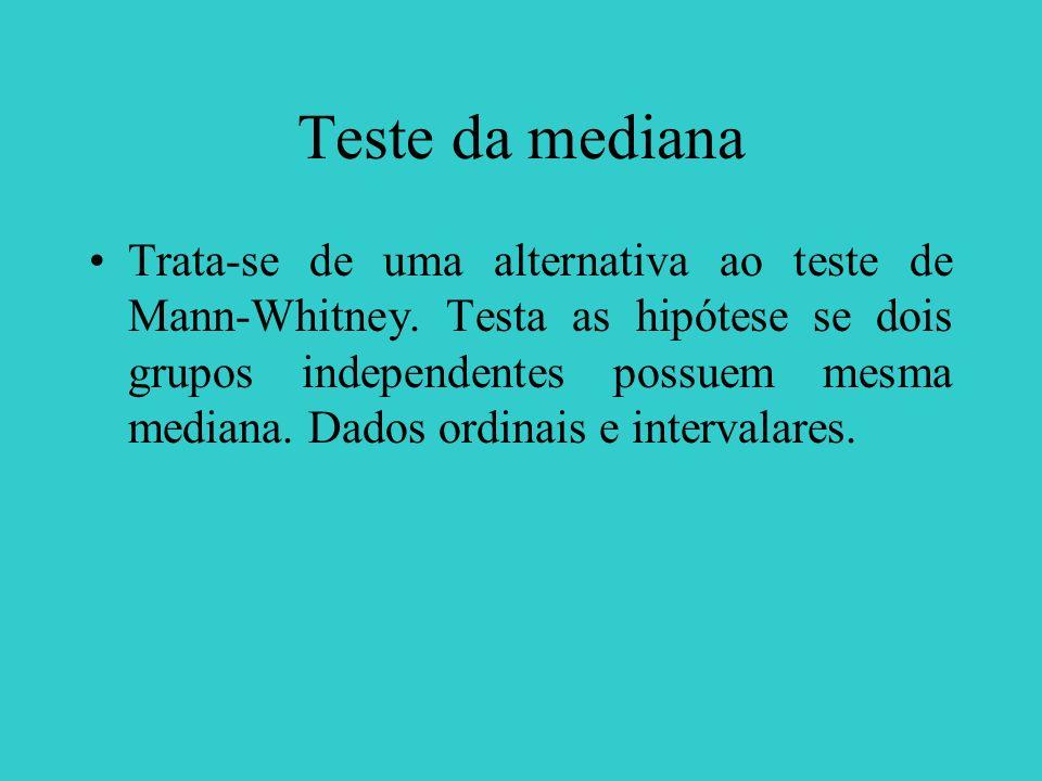 Teste da mediana Trata-se de uma alternativa ao teste de Mann-Whitney. Testa as hipótese se dois grupos independentes possuem mesma mediana. Dados ord