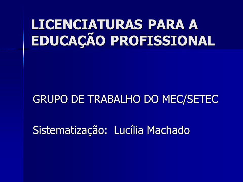 LICENCIATURAS PARA A EDUCAÇÃO PROFISSIONAL GRUPO DE TRABALHO DO MEC/SETEC Sistematização: Lucília Machado