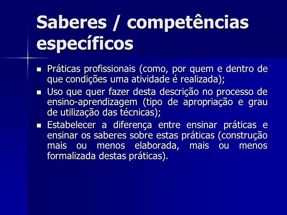Saberes / competências específicos Práticas profissionais (como, por quem e dentro de que condições uma atividade é realizada); Práticas profissionais