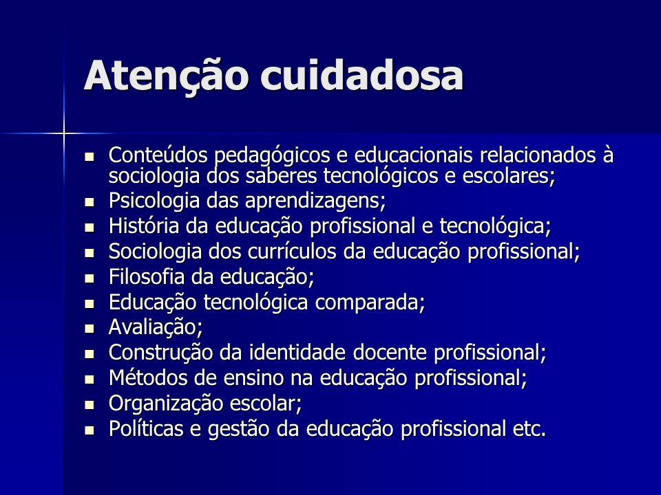 Atenção cuidadosa Conteúdos pedagógicos e educacionais relacionados à sociologia dos saberes tecnológicos e escolares; Conteúdos pedagógicos e educaci