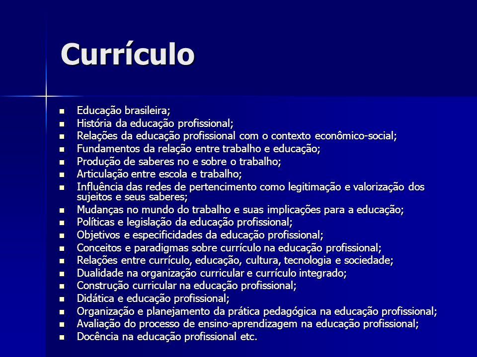 Currículo Educação brasileira; Educação brasileira; História da educação profissional; História da educação profissional; Relações da educação profiss