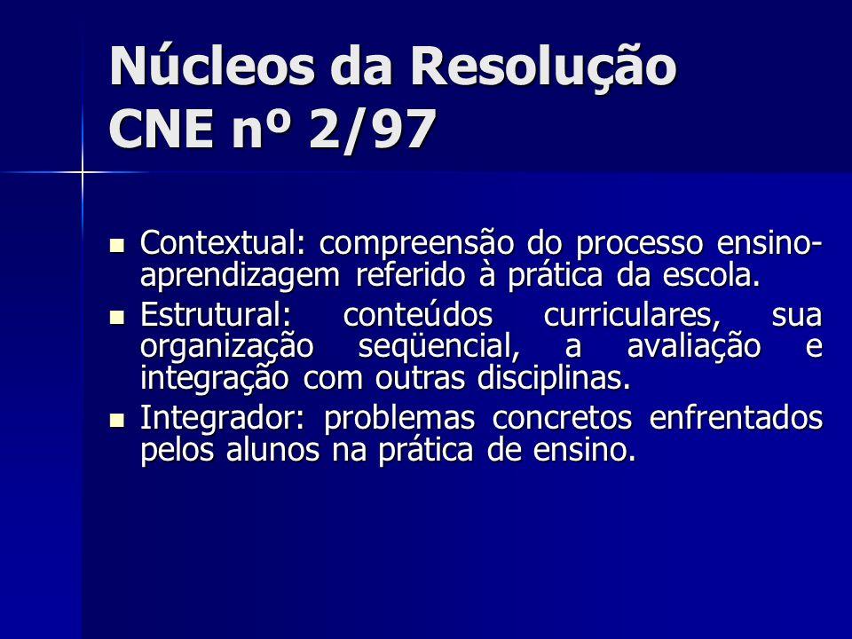 Núcleos da Resolução CNE nº 2/97 Contextual: compreensão do processo ensino- aprendizagem referido à prática da escola. Contextual: compreensão do pro
