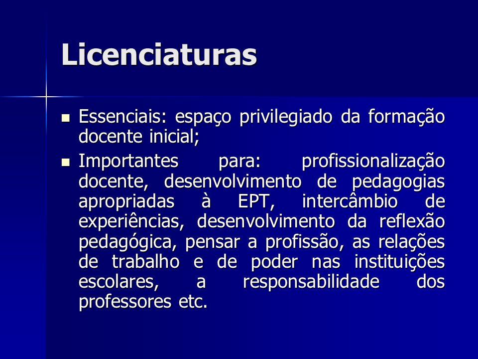 Licenciaturas Essenciais: espaço privilegiado da formação docente inicial; Essenciais: espaço privilegiado da formação docente inicial; Importantes pa