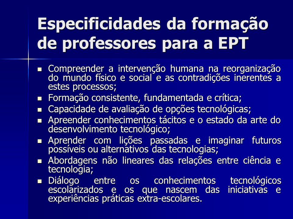 Especificidades da formação de professores para a EPT Compreender a intervenção humana na reorganização do mundo físico e social e as contradições ine