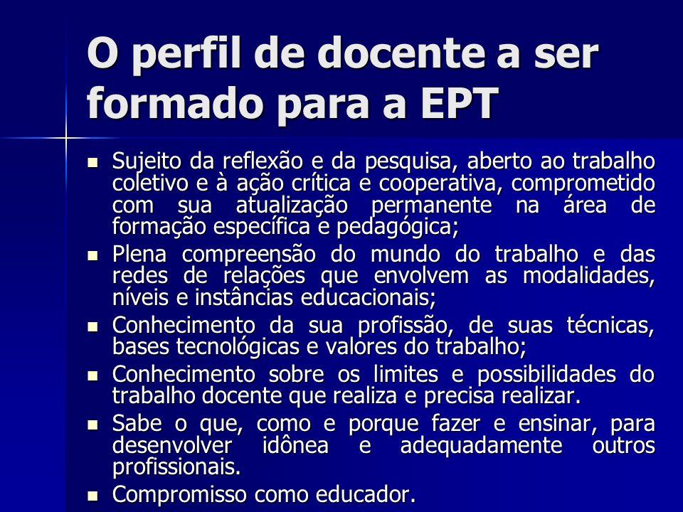 O perfil de docente a ser formado para a EPT Sujeito da reflexão e da pesquisa, aberto ao trabalho coletivo e à ação crítica e cooperativa, comprometi