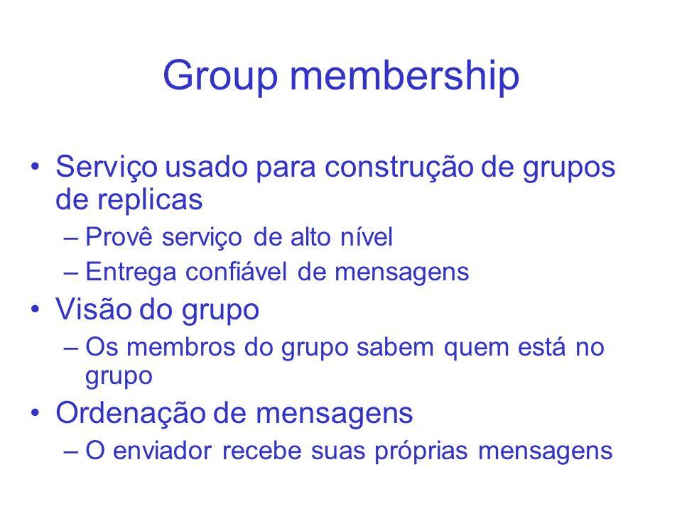 Group membership Serviço usado para construção de grupos de replicas –Provê serviço de alto nível –Entrega confiável de mensagens Visão do grupo –Os m