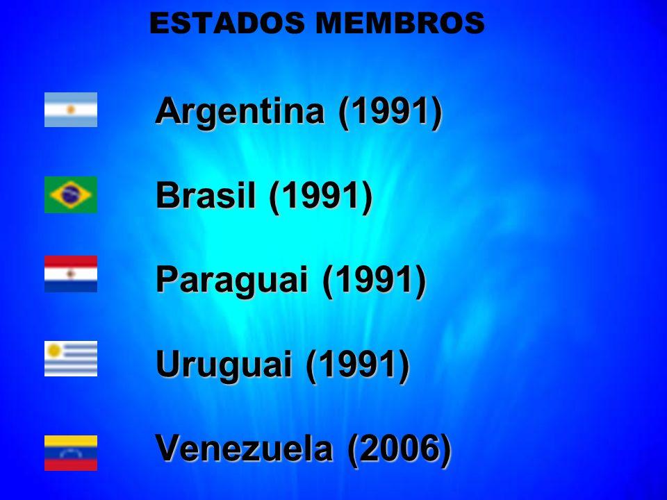 ESTADOS MEMBROS Argentina (1991) Argentina (1991) Brasil (1991) Brasil (1991) Paraguai (1991) Paraguai (1991) Uruguai (1991) Uruguai (1991) Venezuela