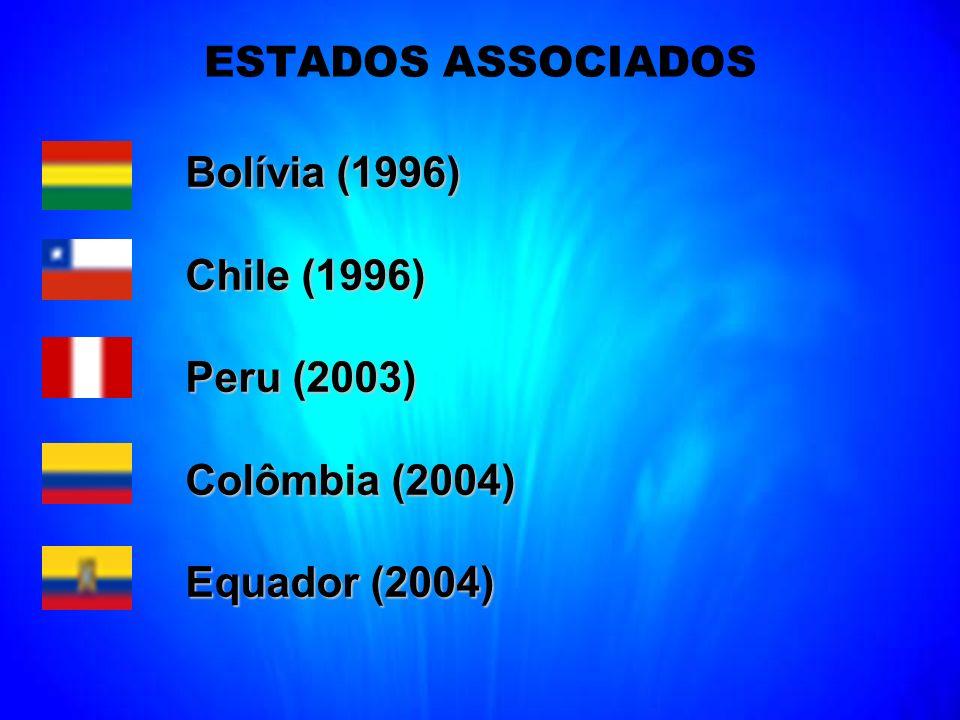 ESTADOS ASSOCIADOS Bolívia (1996) Bolívia (1996) Chile (1996) Peru (2003) Peru (2003) Colômbia (2004) Equador (2004)