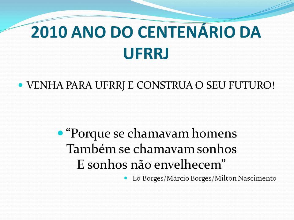 2010 ANO DO CENTENÁRIO DA UFRRJ VENHA PARA UFRRJ E CONSTRUA O SEU FUTURO.