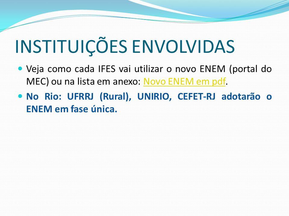 INSTITUIÇÕES ENVOLVIDAS Veja como cada IFES vai utilizar o novo ENEM (portal do MEC) ou na lista em anexo: Novo ENEM em pdf.Novo ENEM em pdf No Rio: UFRRJ (Rural), UNIRIO, CEFET-RJ adotarão o ENEM em fase única.