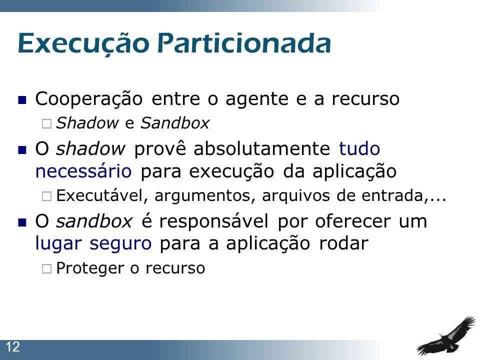 12 Execução Particionada Cooperação entre o agente e a recurso Shadow e Sandbox O shadow provê absolutamente tudo necessário para execução da aplicaçã
