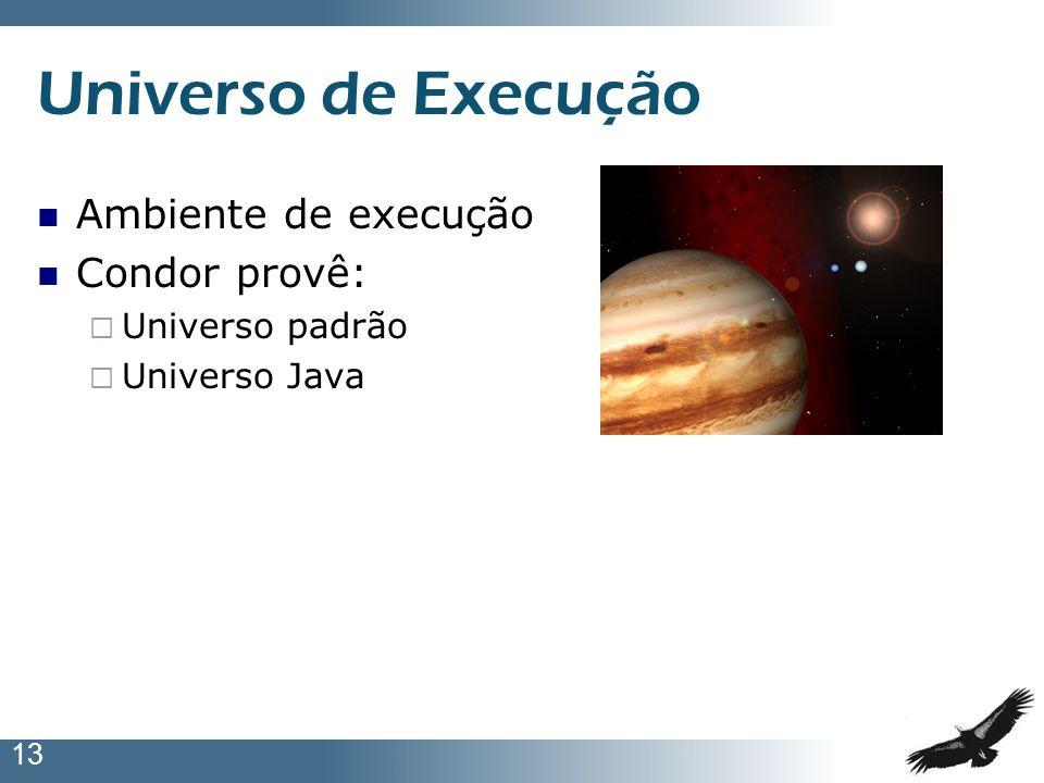 13 Universo de Execução Ambiente de execução Condor provê: Universo padrão Universo Java