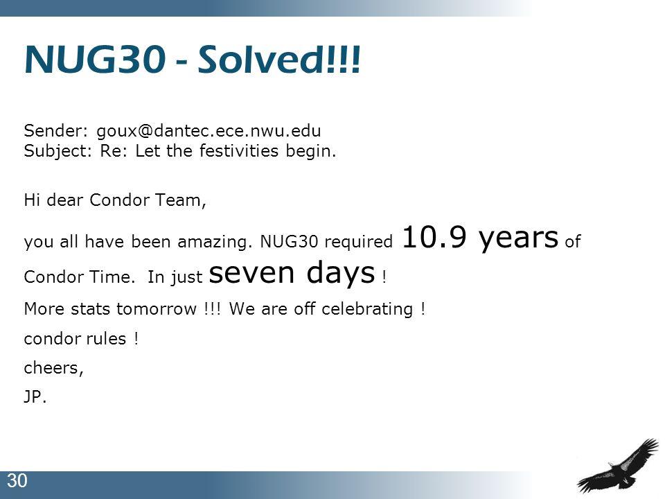 30 NUG30 - Solved!!! Sender: goux@dantec.ece.nwu.edu Subject: Re: Let the festivities begin. Hi dear Condor Team, you all have been amazing. NUG30 req