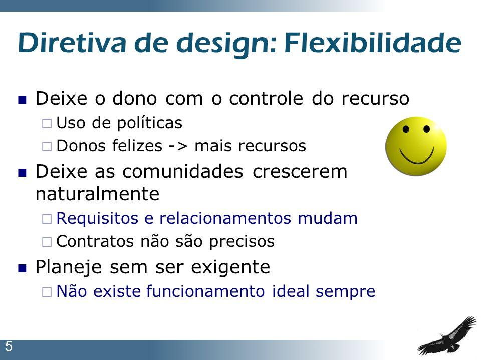 5 Diretiva de design: Flexibilidade Deixe o dono com o controle do recurso Uso de políticas Donos felizes -> mais recursos Deixe as comunidades cresce