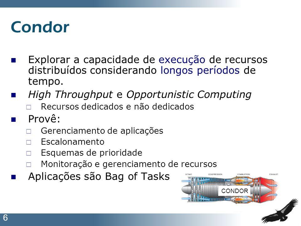 6 Condor Explorar a capacidade de execução de recursos distribuídos considerando longos períodos de tempo. High Throughput e Opportunistic Computing R