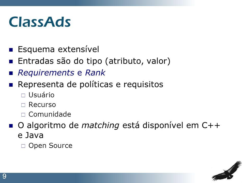 9 ClassAds Esquema extensível Entradas são do tipo (atributo, valor) Requirements e Rank Representa de políticas e requisitos Usuário Recurso Comunida