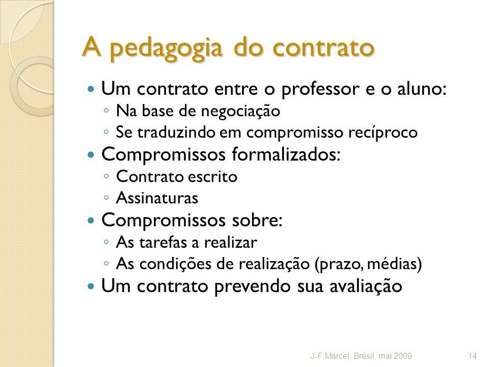 A pedagogia do contrato Um contrato entre o professor e o aluno: Na base de negociação Se traduzindo em compromisso recíproco Compromissos formalizado