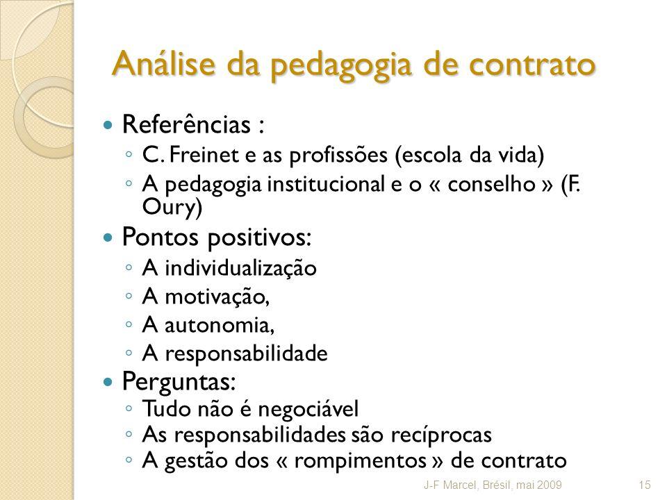 Análise da pedagogia de contrato Referências : C. Freinet e as profissões (escola da vida) A pedagogia institucional e o « conselho » (F. Oury) Pontos