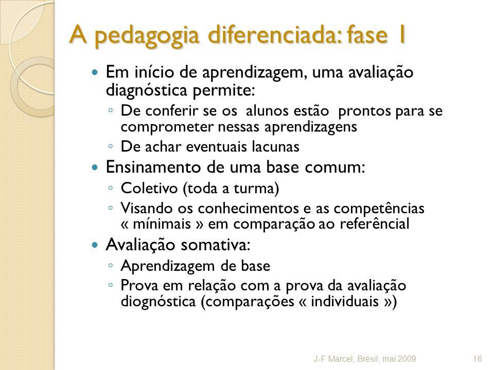A pedagogia diferenciada: fase 1 Em início de aprendizagem, uma avaliação diagnóstica permite: De conferir se os alunos estão prontos para se comprome