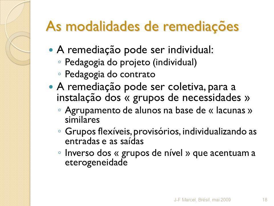 As modalidades de remediações A remediação pode ser individual: Pedagogia do projeto (individual) Pedagogia do contrato A remediação pode ser coletiva