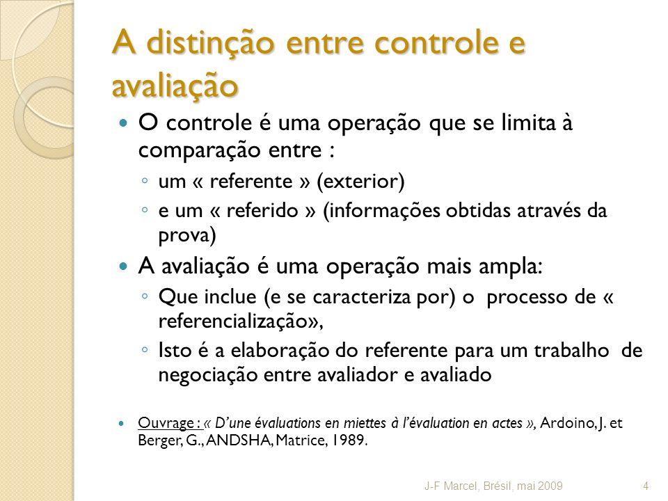 A distinção entre controle e avaliação O controle é uma operação que se limita à comparação entre : um « referente » (exterior) e um « referido » (inf
