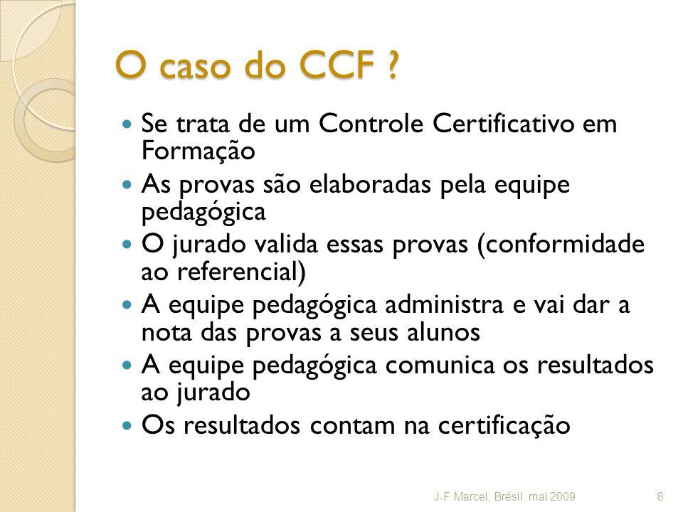 O caso do CCF ? Se trata de um Controle Certificativo em Formação As provas são elaboradas pela equipe pedagógica O jurado valida essas provas (confor
