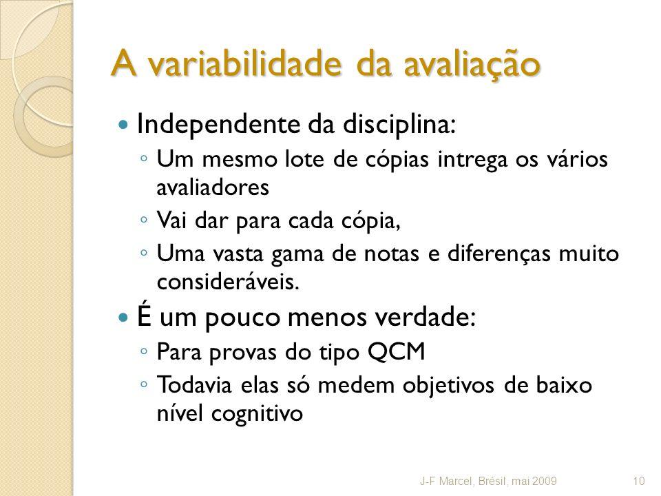 A variabilidade da avaliação Independente da disciplina: Um mesmo lote de cópias intrega os vários avaliadores Vai dar para cada cópia, Uma vasta gama de notas e diferenças muito consideráveis.