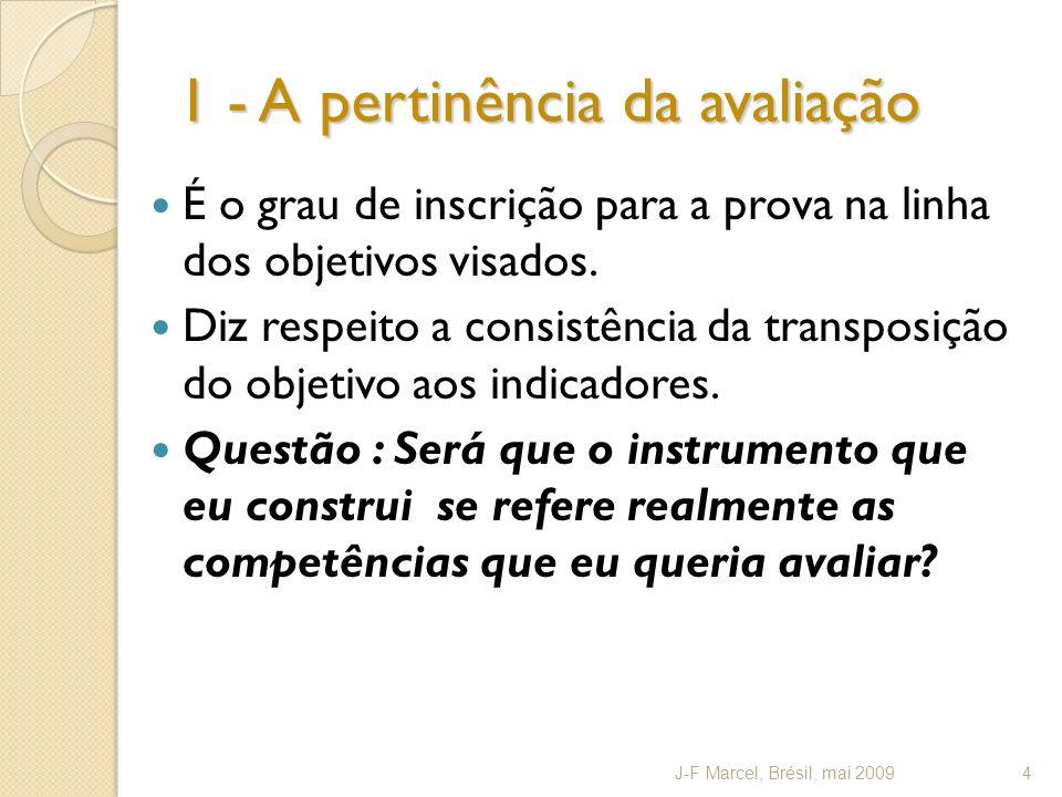 1 - A pertinência da avaliação É o grau de inscrição para a prova na linha dos objetivos visados.